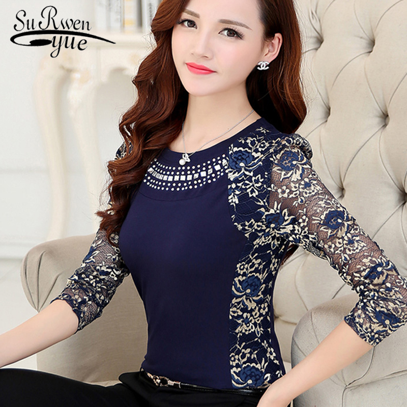 Fashion Womens Tops And Blouses 2019 Sexy Hollow Lace Blouse Shirt Long Sleeve Women Shirts Blue Women Blouse Clothes 160F 50