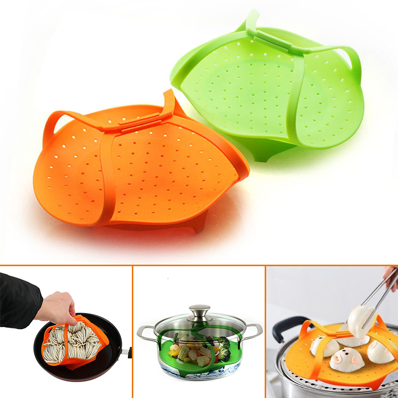 1pcs Vegetable Steamer Silicone Non-slip Veggies Steamer Seafood Instant Pot Basket With Handles Healthy Cooking Tools
