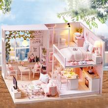 ESTINK 3D 1/24 миниатюрный кукольный домик лесистой СВЕТОДИОДНЫЙ Свет Кукольный дом мебель комплект DIY подарки для взрослых детей ручной работы 3D миниатюрные домики
