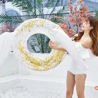 Water Supplies PVC Thickening Swimming Ring Rose Golden Sequins Wings Adult Inflatable Swimming Ring