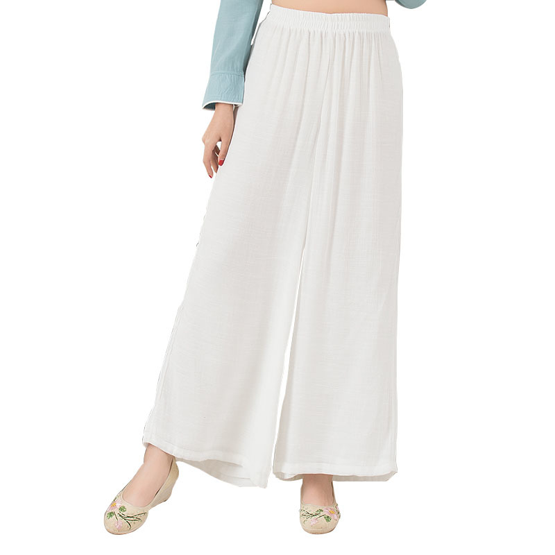Elastic Waist Women Cotton Linen   Wide     Leg     Pants   2019 Spring Summer Vintage Casual Loose Solid Color Trousers Pantalon Femme