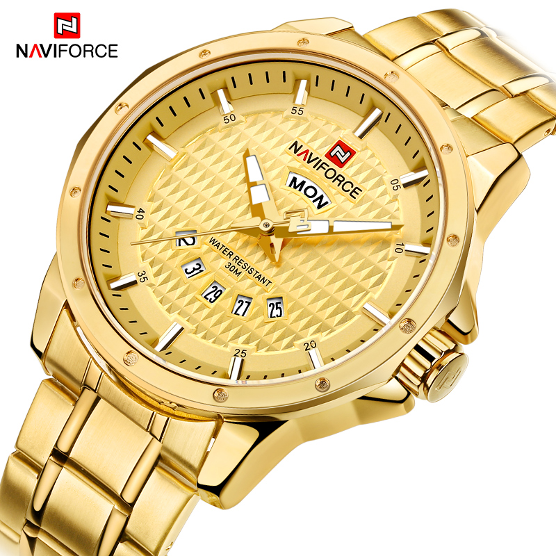 NAVIFORCE Men's Gold Sports Watches Luxury Brand Waterproof Stainless Steel Quartz Wrist Watch Men Clock Male Relogio Masculino luxury brand naviforce men stainless steel gold watch men s quartz clock man sports waterproof wrist watches relogio masculino