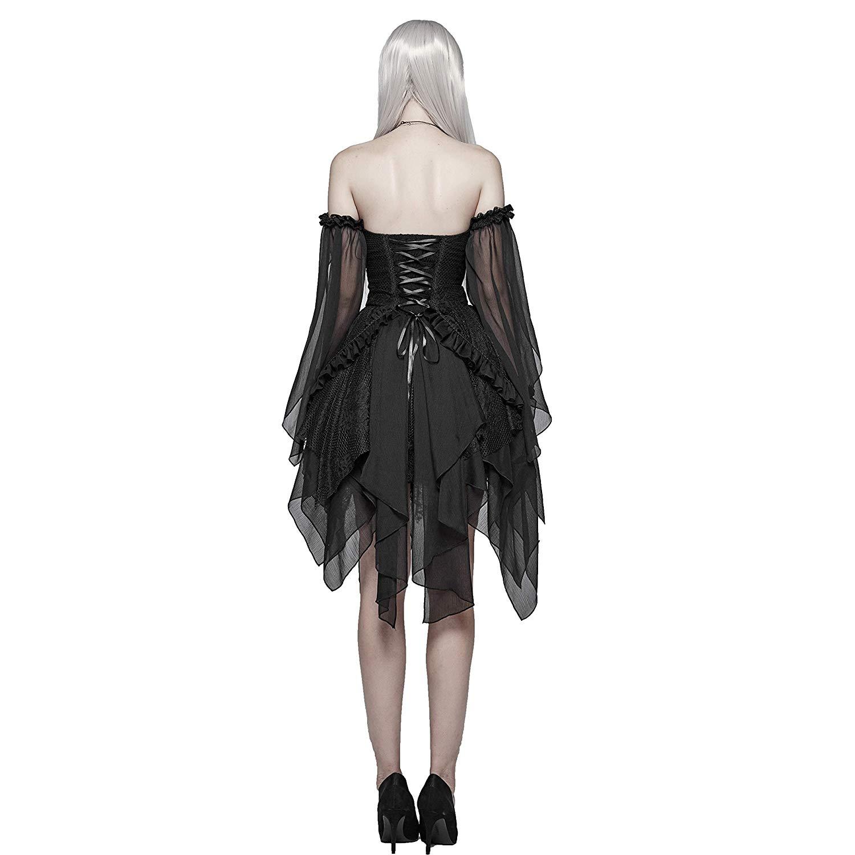 PUNK RAVE Vrouwen Gothic Lolita Zwart Kant Sexy Jurk Mode Chiffon Mini Party Dress Avond Party Slash Neck Fashion Jurken - 3
