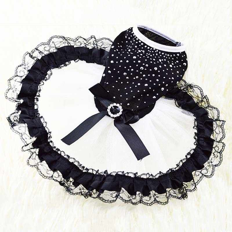 KIMHOME PET Dog Dresses For Small Dogs Cotton Lace Fabric Black Cute Princess Dog Dress Dog Halloween Costume Pet Clothes XS-XL