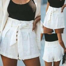 9e4ba0646d Mujer alta cintura cinturón pantalones cortos de mujer de verano de las  señoras Casual playa Slim Fit pantalones botón pantalone.