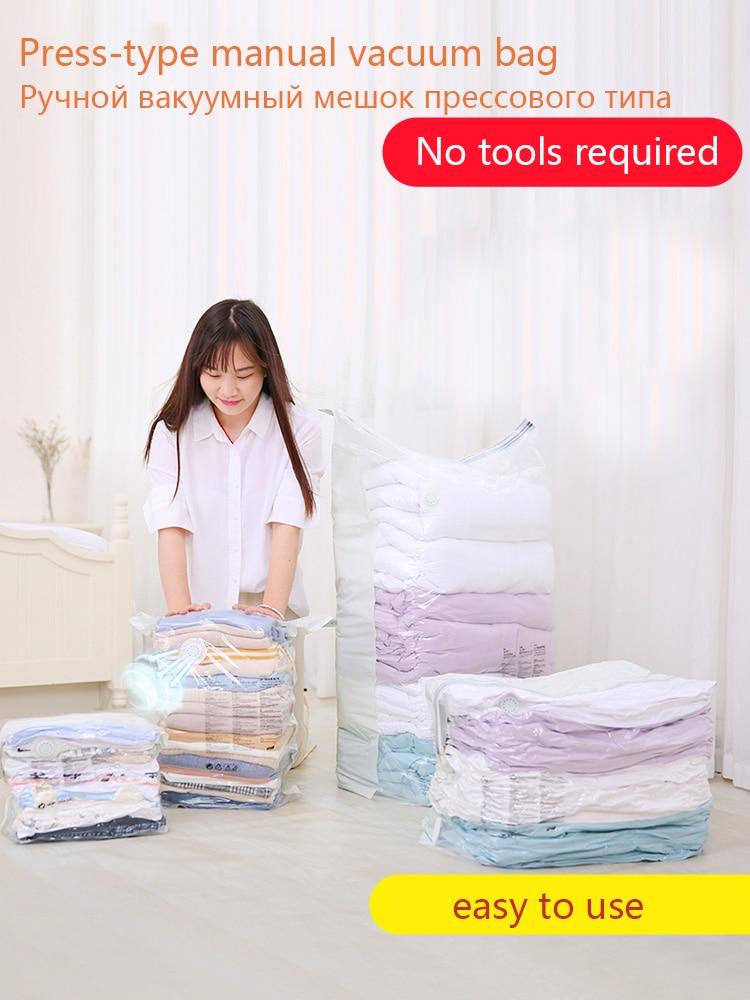 Press Type Manual Vacuum Compression Bag No To Pump Air Travel Bag Clothing Cotton Quilt Stereoscopic Down Clothes Vacuum Bag