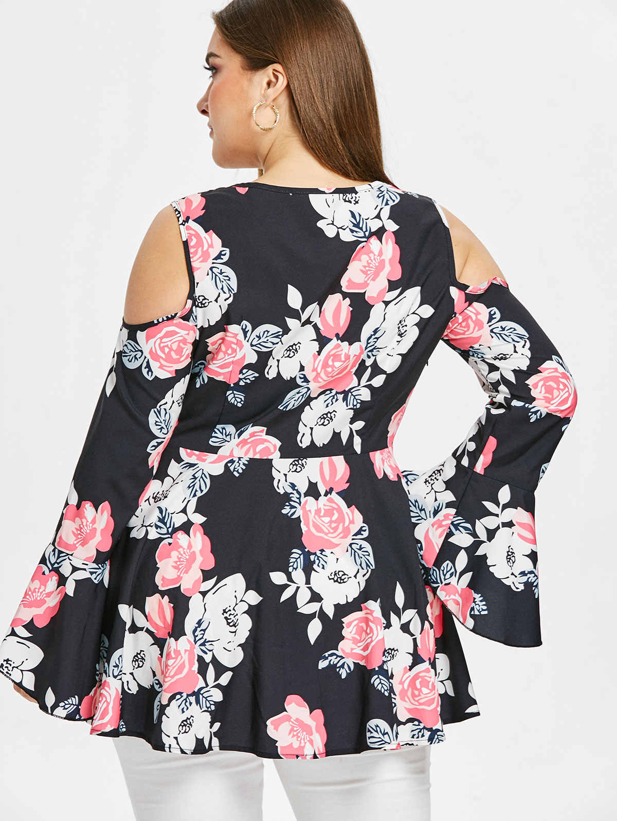 Wipalo Women Long Flare Sleeve Plus Size Floral Print Blouse V Neck Cold Shoulder High Waist Casual Blouse Ladies Spring Blusas