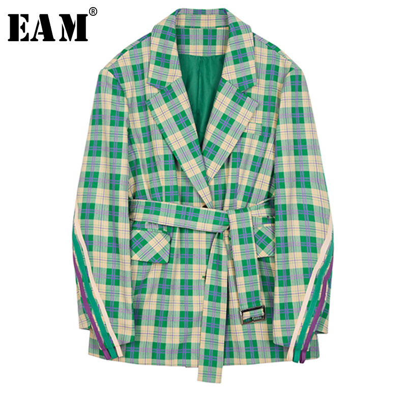 EAM 2019 New Spring Summer Lapel Long Sleeve Green Plaid Loose Waist Bandage Pocket Jacket