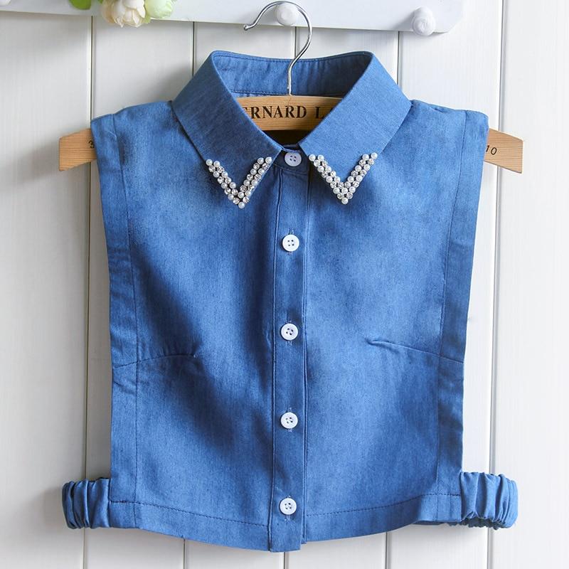 Spring Half Body Shirt Cotton Nail Pearl Cowboy Dickie Shirts Fake Collar Decoration Necklaces Women Blouse Drop Shipping