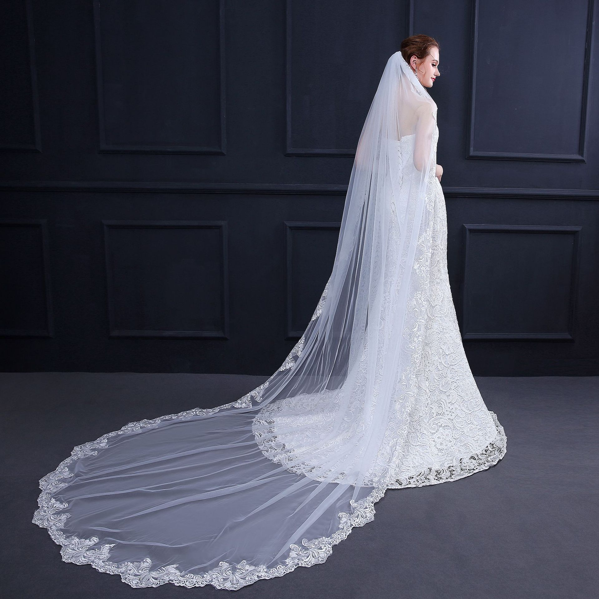2018 New Bridal Veil 3m Long Cathedral Veil Ivory Wedding Veil 3M With Comb  Lace Beads Mantilla Wedding Accessories EE18013