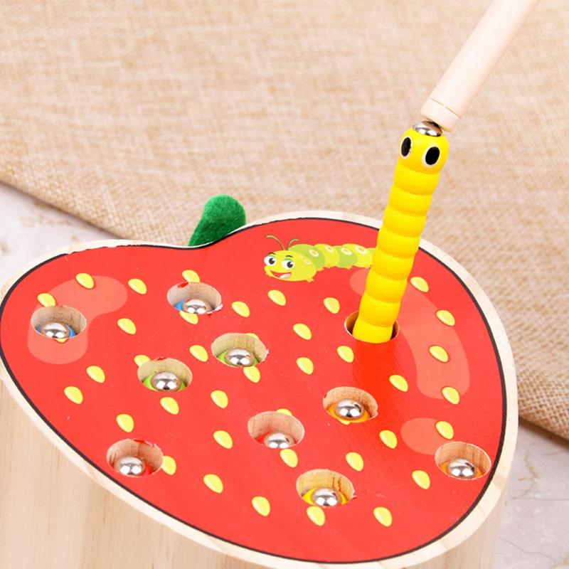 Candywood Catch Worms Game Magnetic Wooden Toys for Children Kids Early Educational Toy Fruit Shape Cognitive Fishing Toys Gift(China)