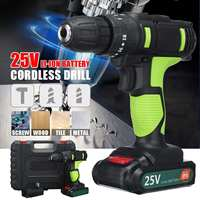 25V Electric Hand Drill Impact Drill Battery Cordless Hammer Drill Electric Screwdriver Home DIY Power Tools+ Storage Box
