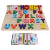 Wooden Alphabet Blocks Puzzle English Letter Words Cards Montessori Early Learning Educational Toys for Children Toddler Kids