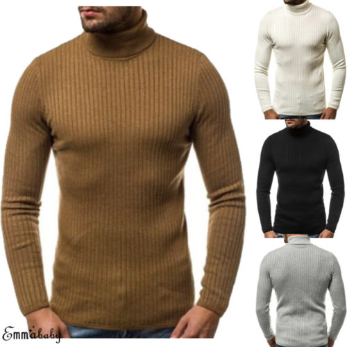 YONGM Mens Knit Casual Drawstring Turtle Neck Pullover Sweaters Jumper