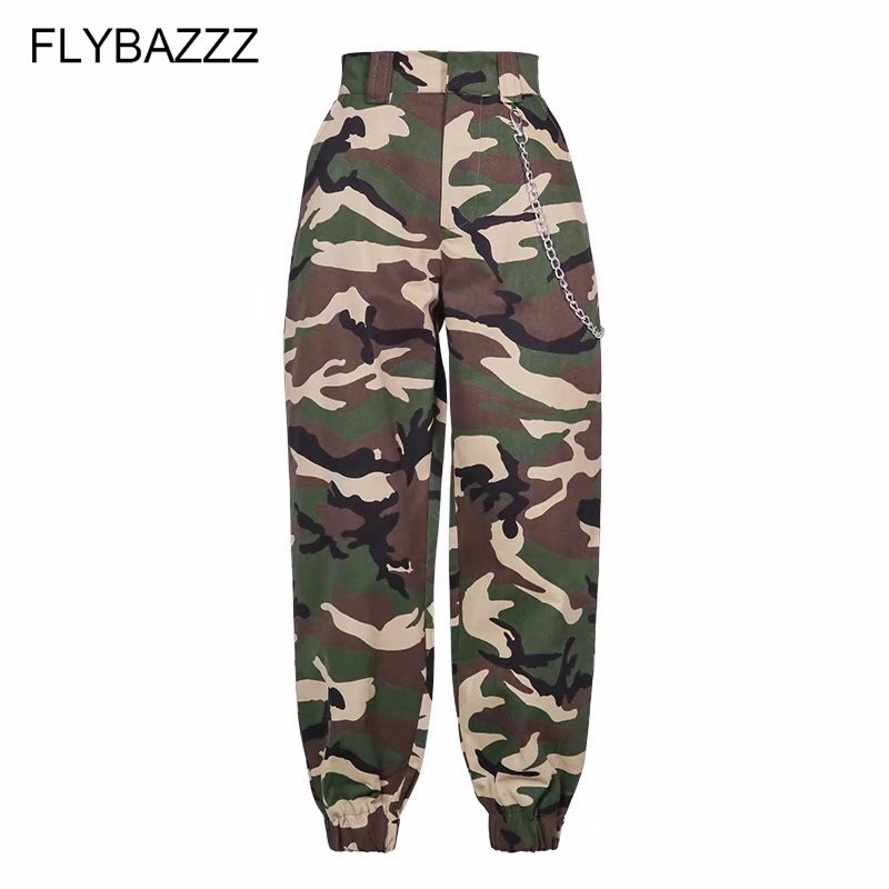 New Spring 2019 Fashion Woman Camo Pants Women High Waist Haren Pants Loose Trousers Joggers Women Camouflage Running Sweatpants in Running Pants from Sports Entertainment