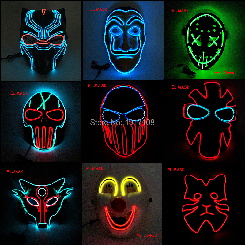 2019 NEW High Quality Party EL Mask  Halloween Masquerade Mask LED Mask EL Wire Glowing  By DC-3V Steady On Driver