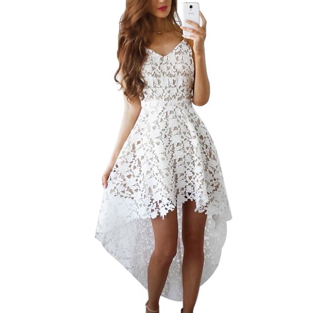 194c1ef9cca 2018 Short Front Long Back Summer Casual Dress Hollow Out Elegant White  Lace Dress Women Short Party Dress Vestido