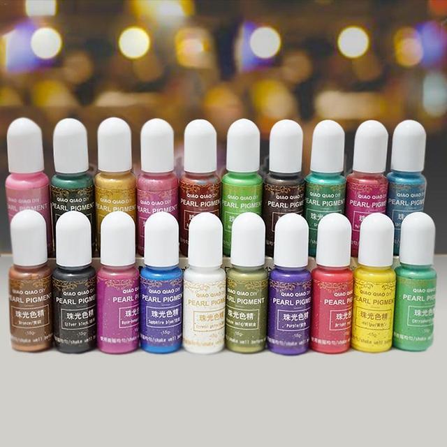 Color nacarado 20 tipos de Polvo de pigmento de Mica perlado Arco Iris resina epoxi UV para cortar joyas troqueles decoración de papel manualidades DIY