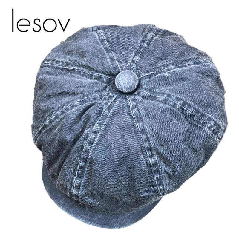 Diplomatic Lesov Octagonal Women Hat Washable Denim Cotton Retro Newsboy Cap Hat Octagonal Hats Spring Autumn Artist Flat Top Bonnet New Men's Newsboy Caps