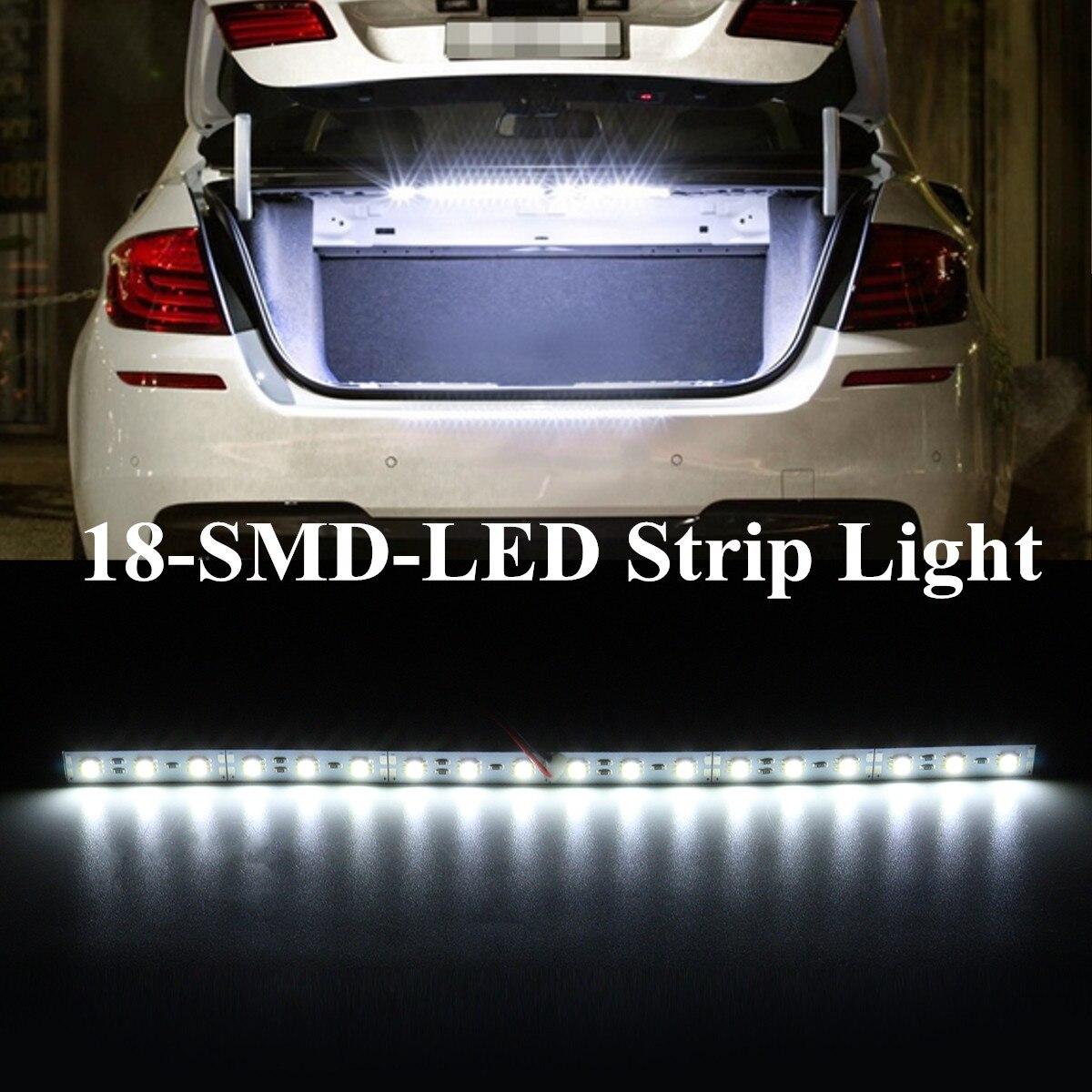 30cm branco 18 conduziu a luz de tira conduzida do carro da barra clara smd para a iluminação interior da área da carga do tronco do carro
