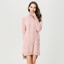 Sexy knitting dress woman winter thick sweater for turtleneck Irregular women 1893