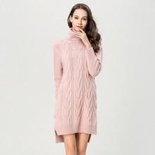 Sexy knitting dress woman winter thick sweater for turtleneck Irregular women 1893