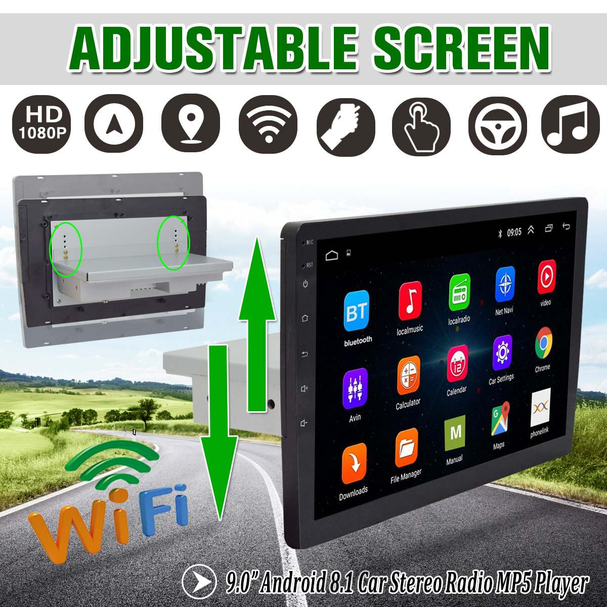 9 Car Multimedia Player for Android 8.1 Adjustable Screen Car Stereo 1Din Up Down Moving MP5 Player GPS Nav Wifi Audio Video9 Car Multimedia Player for Android 8.1 Adjustable Screen Car Stereo 1Din Up Down Moving MP5 Player GPS Nav Wifi Audio Video