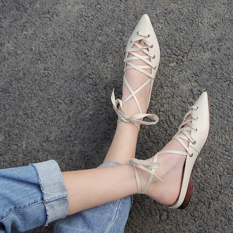 Mode Einzigen beige Schuhe Mädchen 2019 Frühling As Picture Snc Spitz Lace Ankle Sommer Schwarz up Jugend Neue Design schwarzes Moraima Trend zE4fwTq