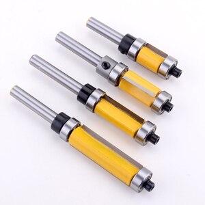 """Image 4 - Broca enrutadora de patrón de ajuste al ras, Panel de vástago de 1/4 """", rodamiento superior e inferior, fresa para carpintería, 1 ud."""