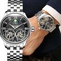 Двойной турбийон Moon Phase часы автоматические механические часы из нержавеющей стали водонепроницаемые 3TM черные бизнес модные мужские часы