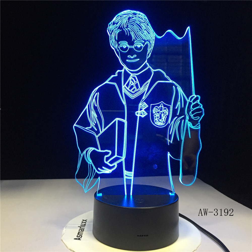 3D Night Light Hogwarts Discoloration Magic School LED Lamp Luminaria Bedroom Decor Linternas Table Lamp AW-3192