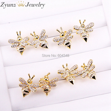 10Pairs ZYZ339 2045 Cute Tiny Bee Earring Pave Crystal CZ Stud Earrings for Women Fashion Insect Jewelry