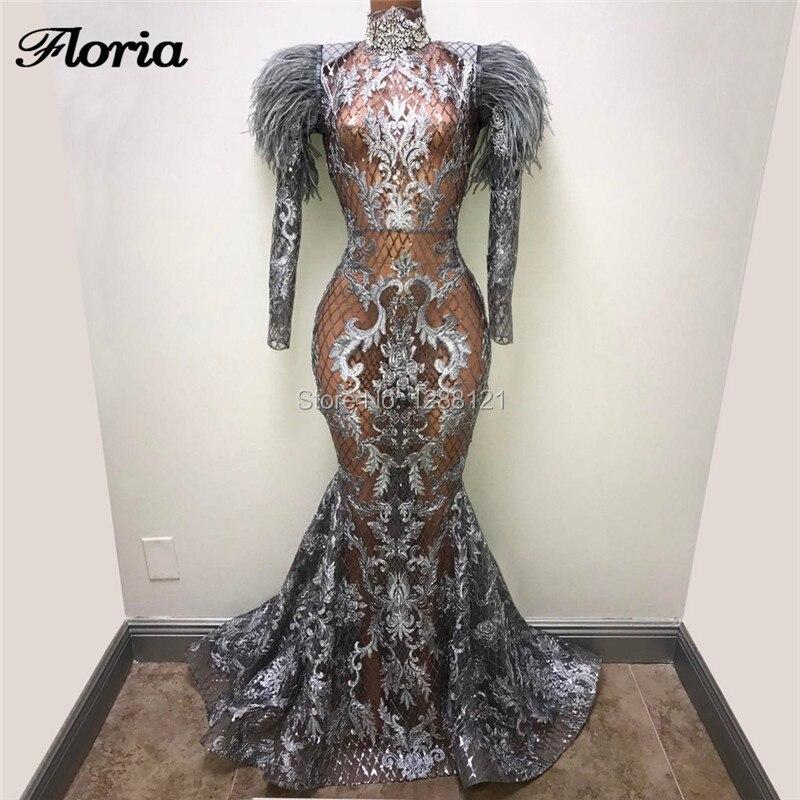 Black Mermaid Evening Dresses Vestidos Couture Dubai Feathers Celebrity Prom Dress 2019 Arabic Aibye Party Gowms Robe de soiree