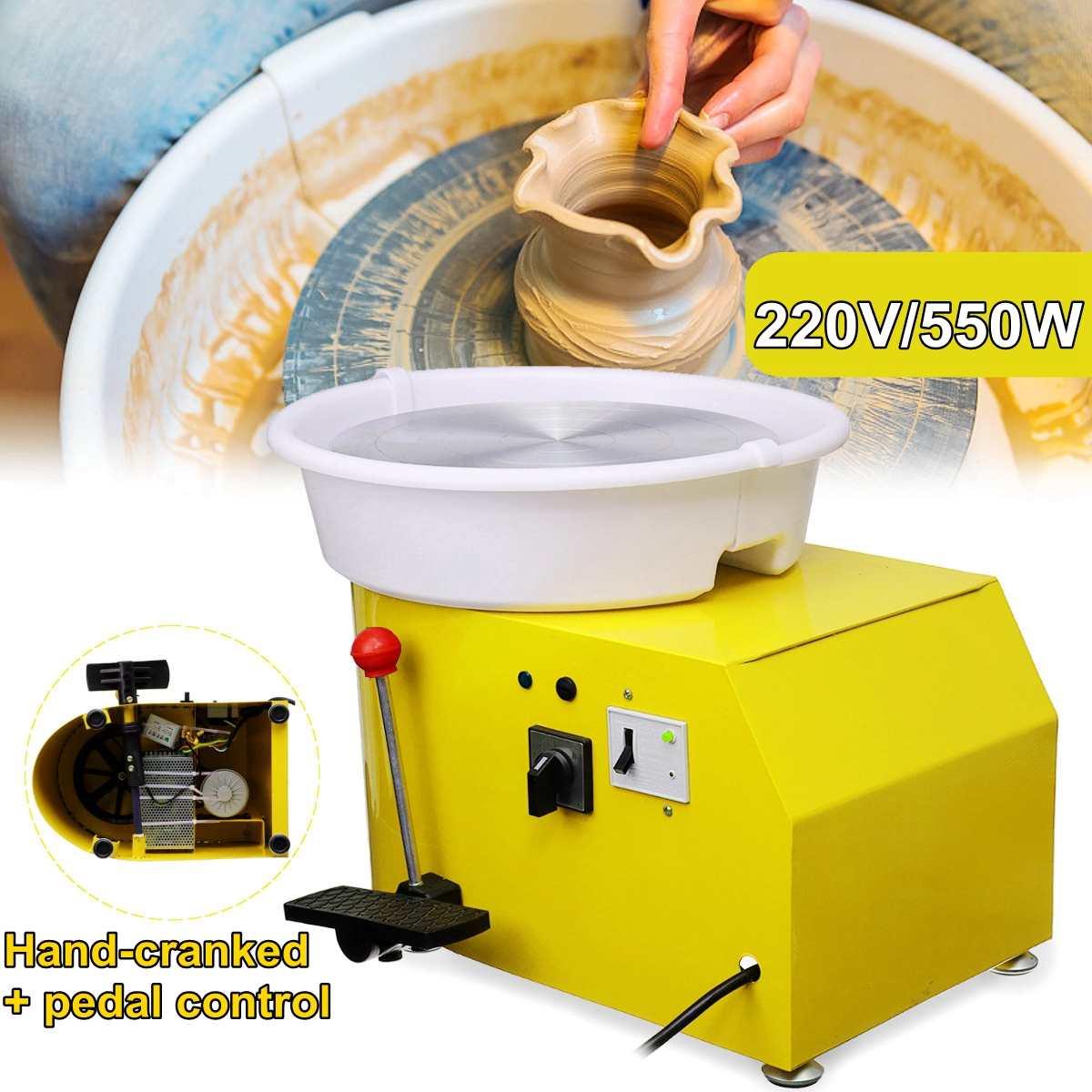 Turning Electric Pottery Wheel Ceramic Machine 220V 550W 300mm Ceramic Clay Potter Kit For Ceramic Work CeramicsTurning Electric Pottery Wheel Ceramic Machine 220V 550W 300mm Ceramic Clay Potter Kit For Ceramic Work Ceramics