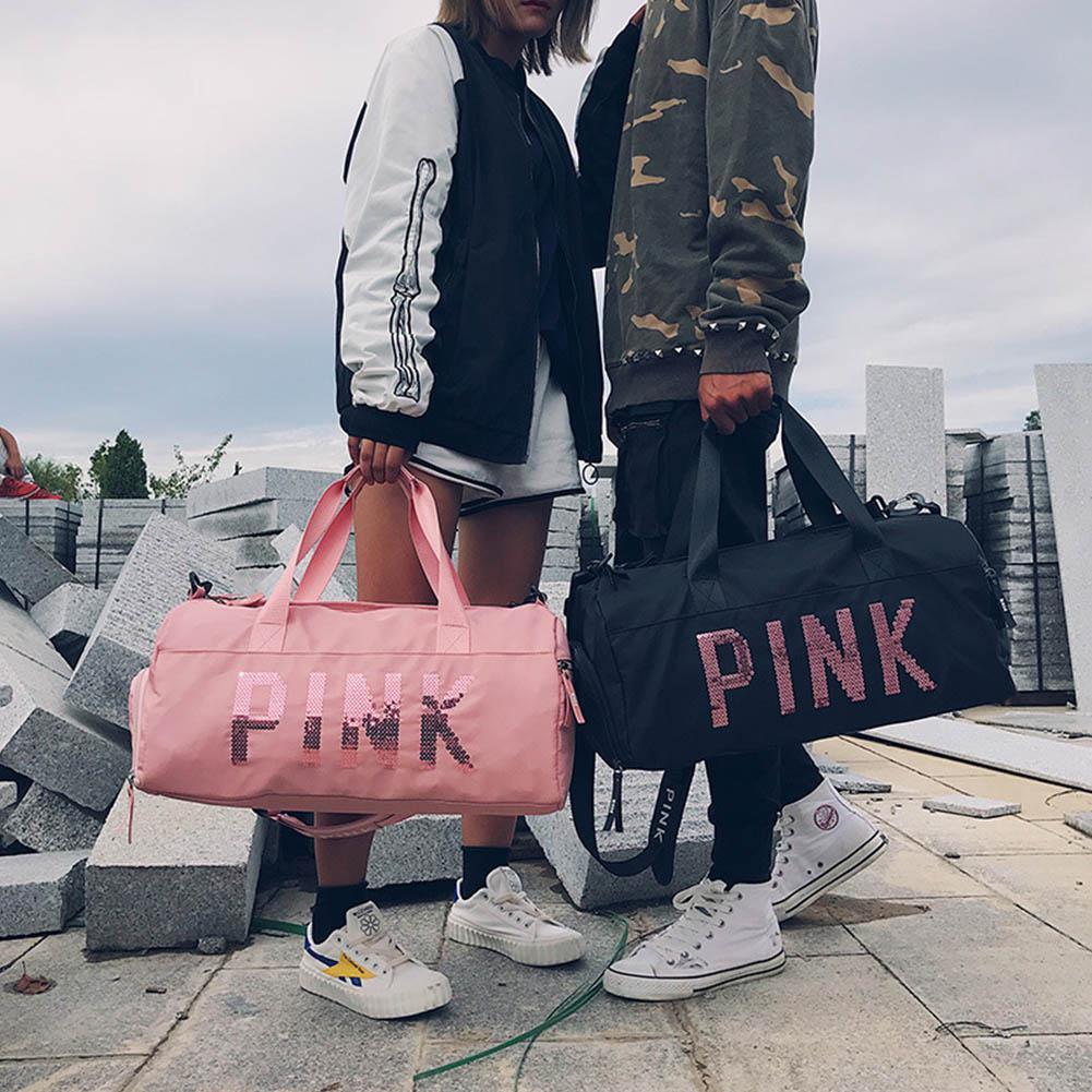Men Women Waterproof Handbag Exercise Fitness Travel Bag Pink Color Sequins Shoulder Bags Portable Large Capacity Messenger Bag