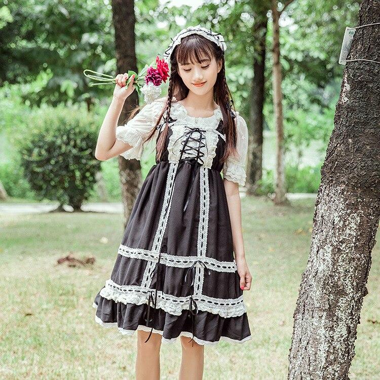 2019 nouveau mignon femmes Lolita JSK robe grand ourlet bulle jarretelle sans manches robe avec chapeaux