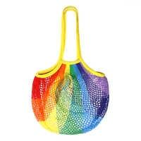 Colorful Women Net Pocket Large Capacity Tote bag Mesh Shopping Bag Reusable String Fruit Storage Handbag Shop Grocery Tote Bag