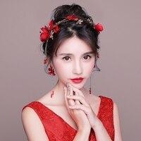 Red Fabric Flower Headband Hair Accessories Bridal Wedding Party Headdress Women Costume Performance Headwear Hairbands Handmade