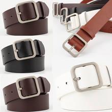 0cfd99cd2ed92 Nouvelle ceinture de cercle en métal carré argenté femme or argent noir  blanc PU ceintures en cuir pour femmes Jeans pantalons e.