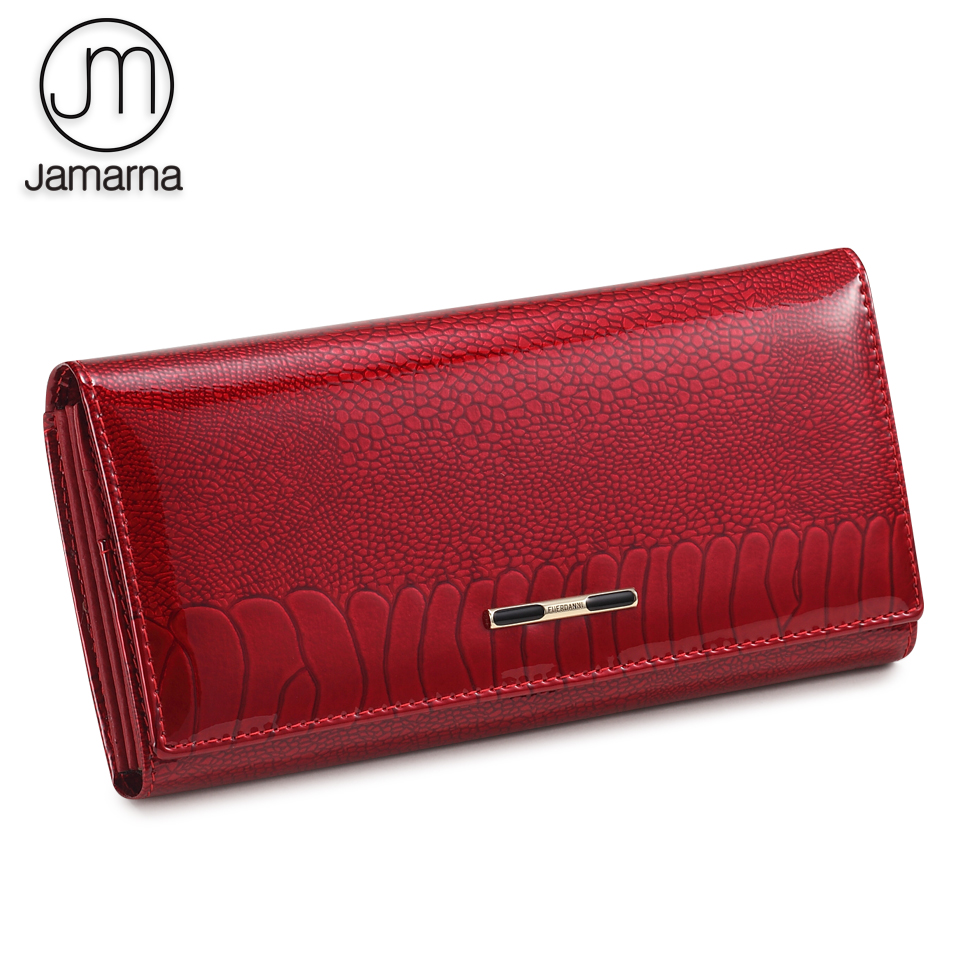 Jamarna Women Wallet Fish Pattern Red Women Wallet Genuine Leather Clasps Coin Purse Glossy Surface Soft Leather Card Holder New
