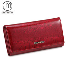 Jamarna Women Wallet Fish Pattern Red Women Wallet Genuine Leather Clasps Coin Purse Glossy Surface Soft Leather Card Holder New(China)