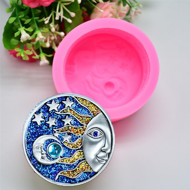 DIY 3D Sun Moon Star Pattern Silicone Soap Mold Candle Mold Plaster Ornaments Gypsum Cement Craft Sculpture Cake Decoration Mold