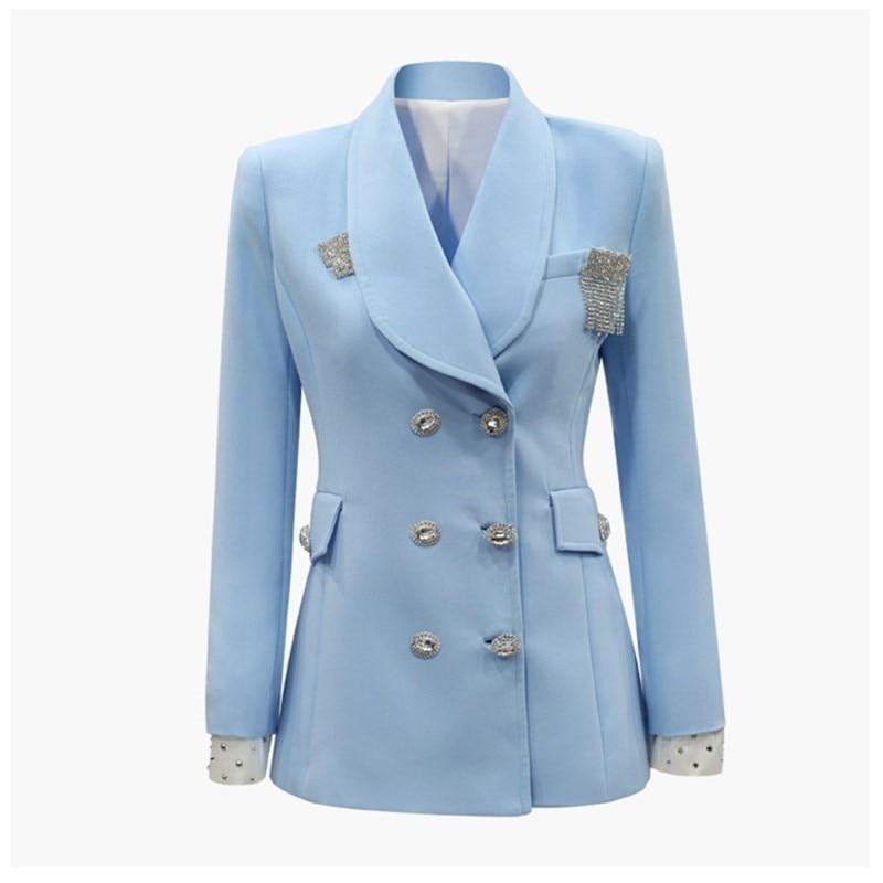 Pad Et Femelle Luxe Strass Début Costume Nouvelle Femme Du Fit Black Slim Couleur Noir De Au Bleu 2019 Sauvage blue Boutonnage Blazer Printemps Épaule Double OnqBHzW