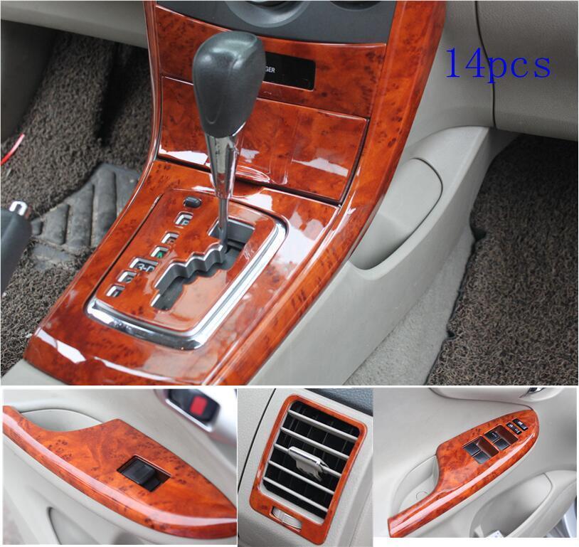 14Pcs/Set Car Interior Wood Grain Color Cover Panel Trim Kit Decorative Cover Stickers For Toyota Corolla 2007-2013 MT AT CVT