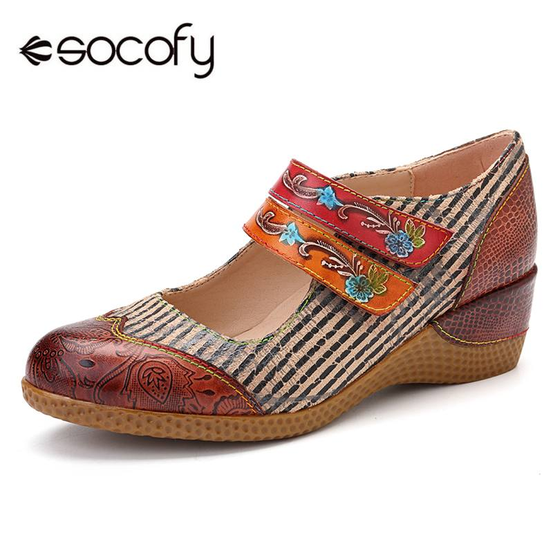 SOCOFY Retro Flowers Pattern Genuine Leather Splicing Black Stripes Stone Pattern Hook Loop Pumps For Women Spring Woman  ShoesSOCOFY Retro Flowers Pattern Genuine Leather Splicing Black Stripes Stone Pattern Hook Loop Pumps For Women Spring Woman  Shoes