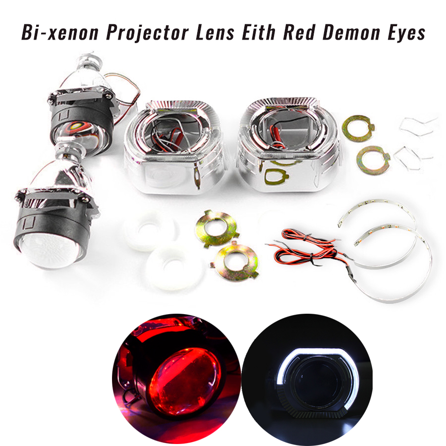 Lentille de projecteur bi-xénon HID de 2.5 pouces avec yeux de démon rouge pour Kit d'assemblage de voiture de modification H1 H4 H7