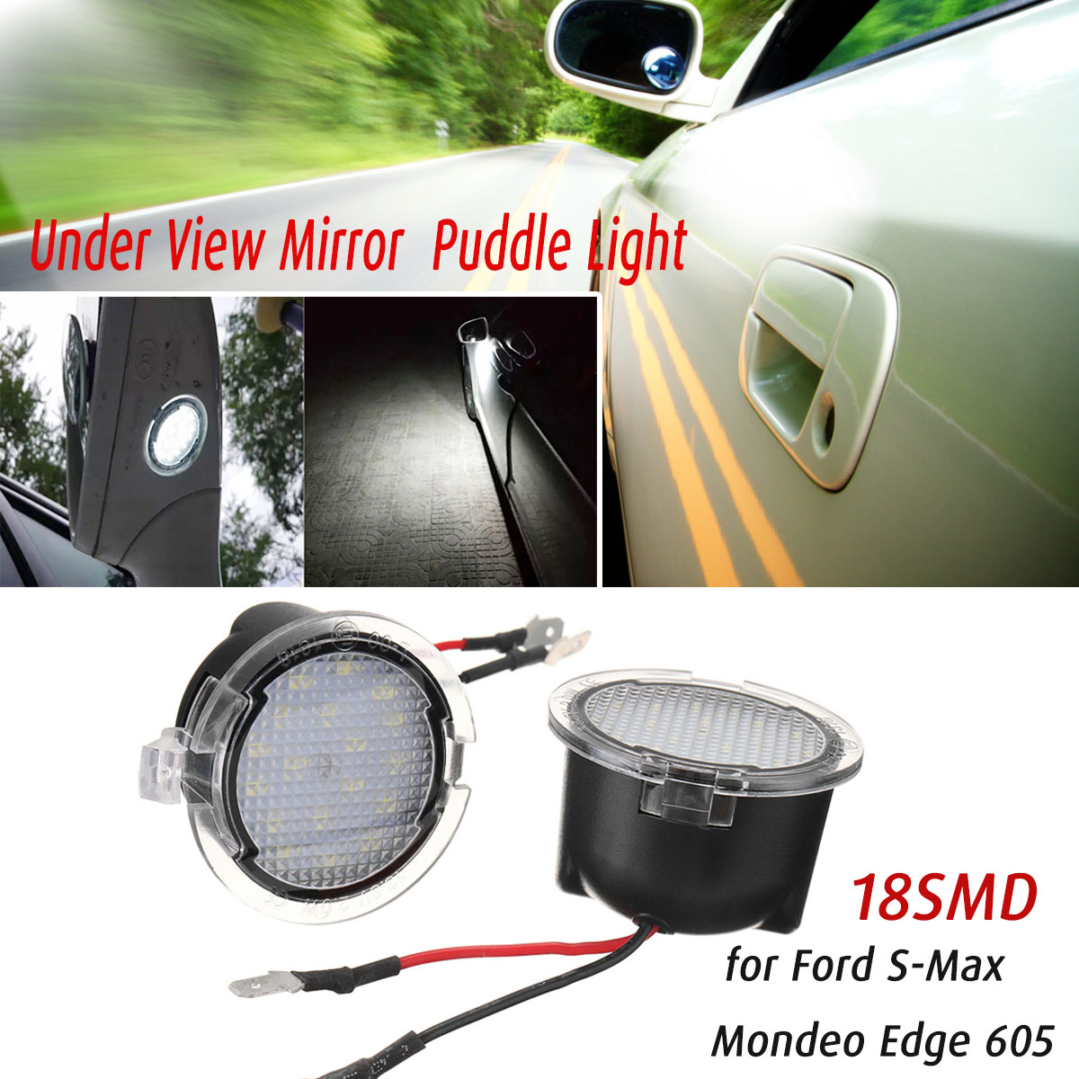2pcs 18led Under Side Mirror Puddle Light For Ford Edge