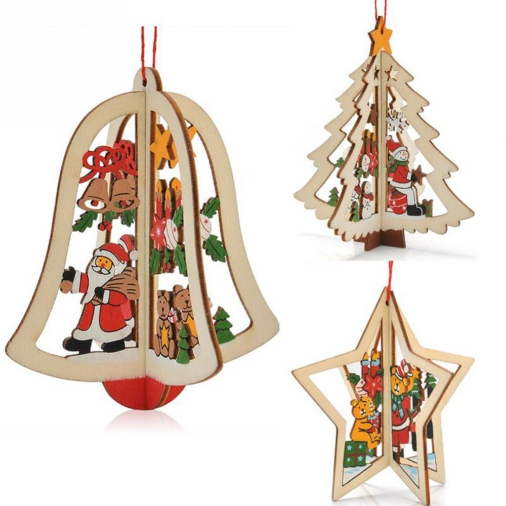Pack Of 1pcs 3D Wooden Christmas Decorations Xmas Ornaments Pendants For Festival Merry Tree