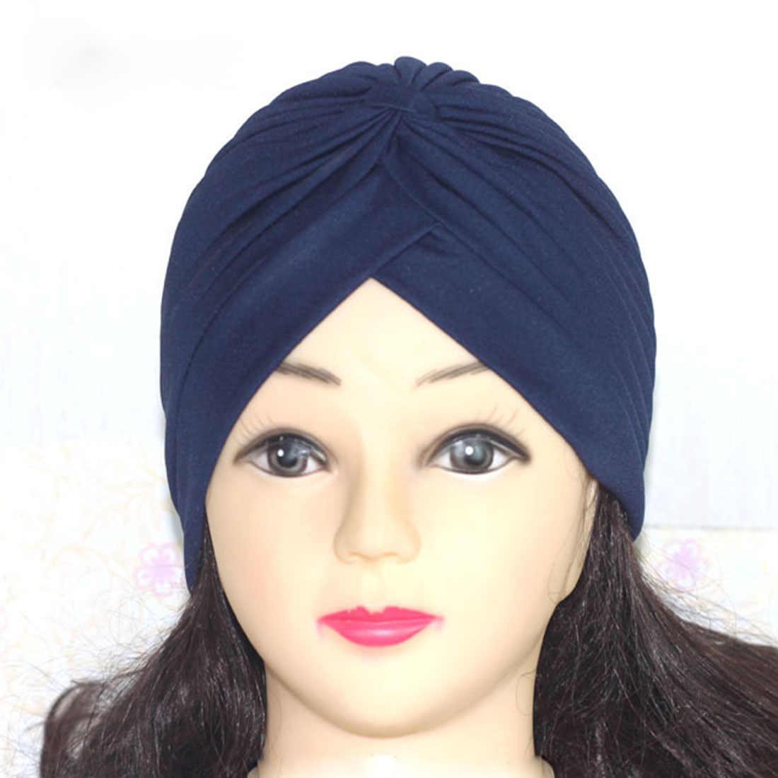 Kadın Erkek Sıkı Türban Başkanı Wrap Band Kemo Bandana Pileli Hint Kap Skullies Beanies Namaz Yeni Şapkalar Etnik 23 Renk