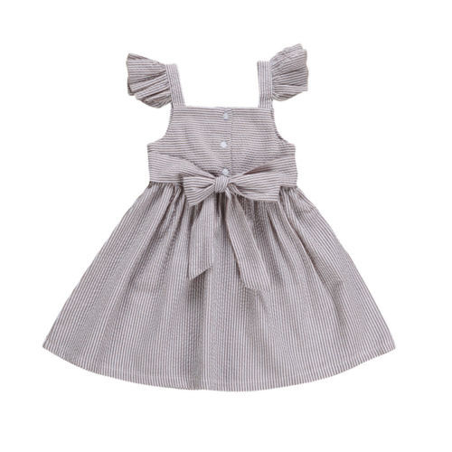 889a8ef5fb0 Bow Princess Dress Clothing Summer Sleeveless Stripe Sundress Casual Clothes  Fashion Toddler Kids Baby Girls 2